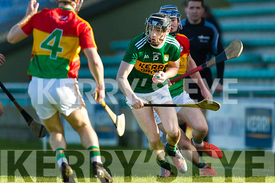 Colum Harty Kerry in action against Michael Doyle Carlow in Div 2a of the National Hurling League at Austin Stack Park Tralee on Sunday.