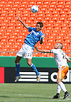 24 June 2007: Kansas City's Davy Arnaud (22) heads the ball over Houston's Wade Barrett (r).  The Houston Dynamo defeated the Kansas City Wizards 1-0 at Arrowhead Stadium in Kansas City, Missouri in a regular season Major League Soccer 2007 game.