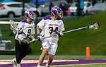 Matt Perla (#34) begins a clear as UAlbany Men's Lacrosse defeats Richmond 18-9 on May 12 at Casey Stadium in the NCAA tournament first round.
