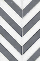 Maharaja Stripe 2, a waterjet stone mosaic shown in honed Thassos and Bardiglio, is part of the Silk Road collection by Sara Baldwin for New Ravenna.
