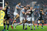 Bath Rugby players celebrate Semesa Rokoduguni of Bath Rugby's match-winning try. Aviva Premiership match, between Exeter Chiefs and Bath Rugby on October 30, 2016 at Sandy Park in Exeter, England. Photo by: Patrick Khachfe / Onside Images