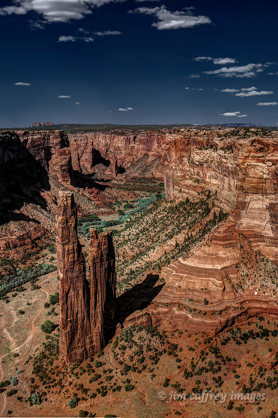 A view looking down on Spider Rock in Canyon de Chelly from an overlook.