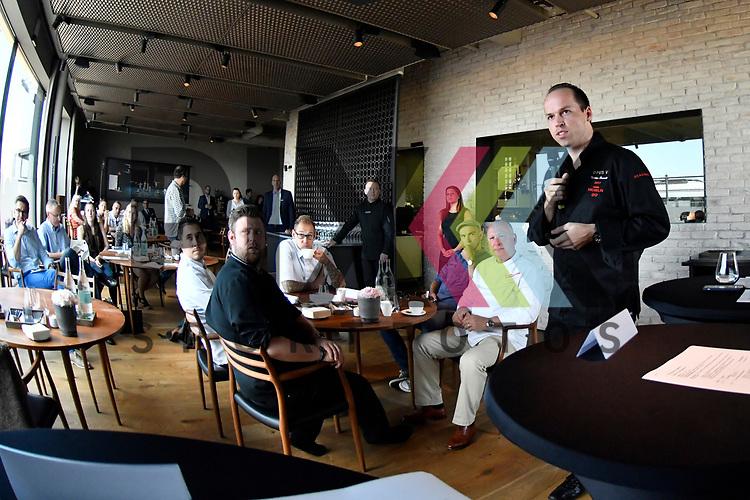 Mannheim 21.07.17 Pressegespraech &bdquo;engelhorn Gourmetfestival mit neuem Konzept&ldquo; im Bild Links Tristan Brandt bei seinen Ausfuehrungen<br /> <br /> Foto &copy; Ruffler For editorial use only. (Bild ist honorarpflichtig - No Model Release!)