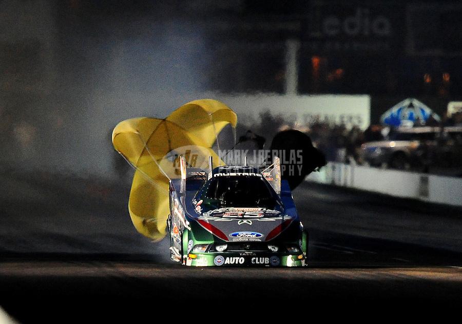 Feb. 21, 2010; Chandler, AZ, USA; NHRA funny car driver John Force during the Arizona Nationals at Firebird International Raceway. Mandatory Credit: Mark J. Rebilas-