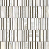 Corridor, a hand-cut stone mosaic, shown in polished Calacatta and  honed Montevideo.
