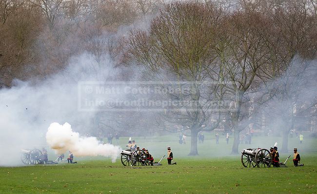 06/02/2013. London, UK The King's Troop, Royal Horse Artillery, carry out a 41 gun royal salute to mark the 61st Anniversary of the Accession of Her Majesty The Queen at Green Park in London today (06/02/13). Photo credit: Matt Cetti-Roberts