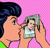 Young woman staring at photograph of man on smart phone