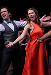 Cavin Creel and Sutton Foster during the curtain Call bows for the Actors Fund's 15th Anniversary Reunion Concert of 'Thoroughly Modern Millie' on February 18, 2018 at the Minskoff Theatre in New York City.