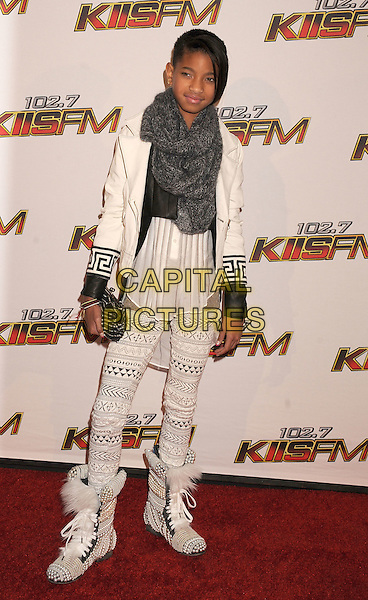 Willow Smith.The 102.7 KIIS FM's Jingle Ball at the Nokia Theatre L.A. Live in Los Angeles, California, USA..December 3rd, 2011.full length white jacket crochet trousers boots fur grey gray scarf.CAP/ROT/TM.©Tony Michaels/Roth Stock/Capital Pictures