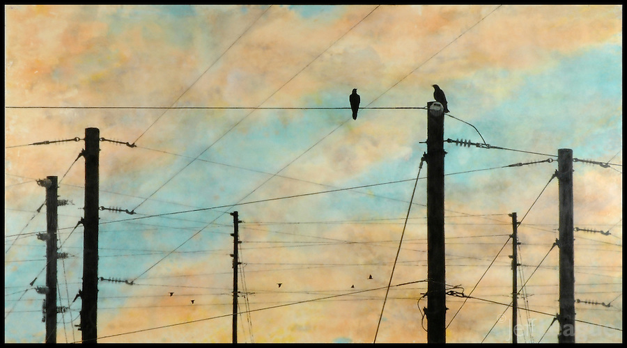 Encaustic painting with photography of birds communicating on telephone poles.
