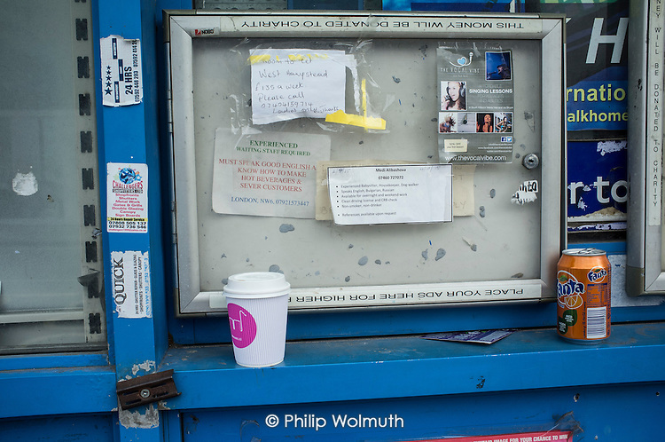 Room to let and job ads in a newsagents noticeboard, West Hampstead