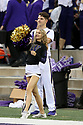 SEATTLE, WA - SEPTEMBER 14: Washington Cheer member Elizabeth Ward  entertained fans during the college football game between the Washington Huskies and the Hawaii Rainbow Warriors on September 14, 2019 at Husky Stadium in Seattle, WA.