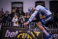 Mathieu van der Poel (NED/Corendon-Circus) after crossing the finish line (victoriously)<br /> <br /> men's race<br /> 44th Superprestige Diegem (BEL) 2018<br /> ©kramon