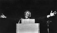 Archbishop Desmond Tutu from South Africa, winner of the Nobel Peace Prize in 1984. Speaking in San Francisco, Ca in 1985..(photo by Ron Riesterer)