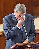 The Speaker of the United States House of Representatives John Boehner (Republican of Ohio) wipes tears from his eyes as he speaks to his colleagues from the well of the US House to announce his resignation in the US House Chamber in the US Capitol in Washington, DC on October 29, 2015.<br /> Credit: Ron Sachs / CNP
