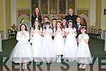 Pupils from Coolard NS who received their 1st Communion at Ballydonoghue Church, Liselton on Saturday last. Front : Aiofe O'Connor, Eva Browne, Claudia Foley, Grace Scanlon, Aisling Joy & Soracha Keane. Middle :Gerry Molyneaux,  Jack McCarthy, Allen Fole &  Jake O'Sullivan. Back : Teacher Dora Curley & FR. John Lawlor