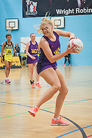 Match action during the England Netball u18s Performance League Match between Manchester Thunder and the University of Manchester at the Wright Robinson Sports Centre, Manchester on Monday 15th May 2017