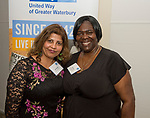 SOUTHINGTON, CT-050318JS16- Amanda Mojabir and Alevtia Majette, both with NEOPERL, Inc., at the United Way of Greater Waterbury's 32nd annual Community Leaders Dinner and Awards event at the Aqua Turf in Southington. <br /> Jim Shannon Republican American