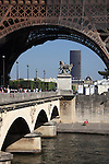 A closed up view of Pont d'Iéna Iena bridge with Eiffel Tower La tour eiffel in the background. City of Paris. Paris. France