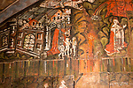 Doom painting on wooden panels at Saint James the Great church, Dauntsey, Wiltshire, England, UK