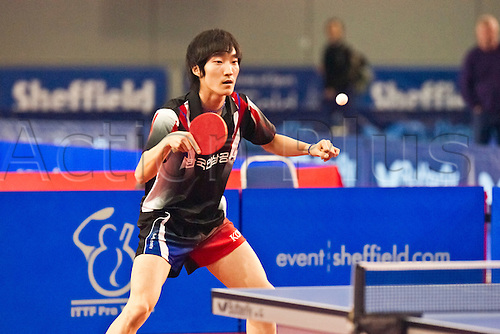 29.01.2011 English Open ITTF Pro Tour Table Tennis from the EIS in Sheffield. Min Seok Kim of Korea