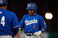 Rancho Cucamonga Quakes right fielder Saige Jenco (9) holds at first base for a single during a California League game against the Stockton Ports at Banner Island Ballpark on May 16, 2018 in Stockton, California. Rancho Cucamonga defeated Stockton 6-3. (Zachary Lucy/Four Seam Images)