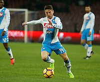 Dries Mertens  during the  italian serie a soccer match,between SSC Napoli and Atalanta      at  the San  Paolo   stadium in Naples  Italy , February 25, 2017