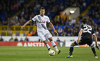 Erik Lamela of Tottenham Hotspur takes on Afran Ismayilov of Qarabag FK during the UEFA Europa League match between Tottenham Hotspur and Qarabag FK at White Hart Lane, London, England on 17 September 2015. Photo by Andy Rowland.