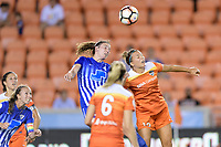Houston, TX - Wednesday June 28, 2017: Amber Brooks goes up for a header during a regular season National Women's Soccer League (NWSL) match between the Houston Dash and the Boston Breakers at BBVA Compass Stadium.