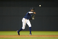 Columbia Fireflies shortstop Ronny Mauricio (2) makes a throw to first base against the Rome Braves at Segra Park on May 13, 2019 in Columbia, South Carolina. The Fireflies defeated the Braves 6-1 in game two of a doubleheader. (Brian Westerholt/Four Seam Images)