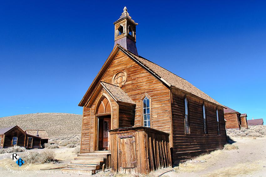 The old church in the ghost town of Bodie defies time and the elements