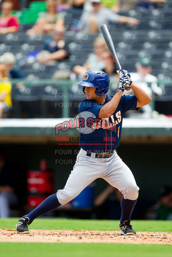 Cole Figueroa (4) of the Durham Bulls at bat against the Charlotte Knights at Knights Stadium on August 18, 2013 in Fort Mill, South Carolina.  The Bulls defeated the Knights 8-5 in Game One of a double-header.  (Brian Westerholt/Four Seam Images)