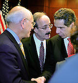 Governor Andrew Cuomo (Democrat of New York), right, shakes hands with United States Representative Paul Tonko  (Democrat of New York), left, as U.S. Representative Elliot Engel (Democrat of New York), center, looks on after a press conference in the U.S. Capitol following a series of meetings with Congressional Leadership on Monday, December 3, 2012..Credit: Ron Sachs / CNP.(RESTRICTION: NO New York or New Jersey Newspapers or newspapers within a 75 mile radius of New York City)
