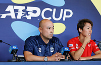 2nd January 2020; RAC Arena , Perth, Western Australia, Australia; ATP Cup Team Press conferences, Japan; Satoshi Iwabuchi and Yoshihito Nishioka of Japan speak at the team press conference - Editorial Use