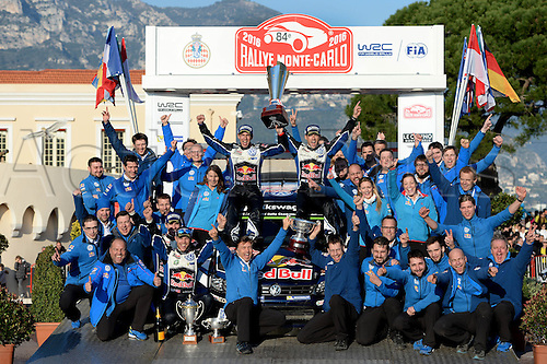 24.01.2016. Monte Carlo, Monaco, France. WRC Monte Carlo Rally 2016, final day. Sebastien Ogier (FR) and Julien Ingrassia (FR) win the race in their Volkswagen Polo WRC and pose with theor technical team