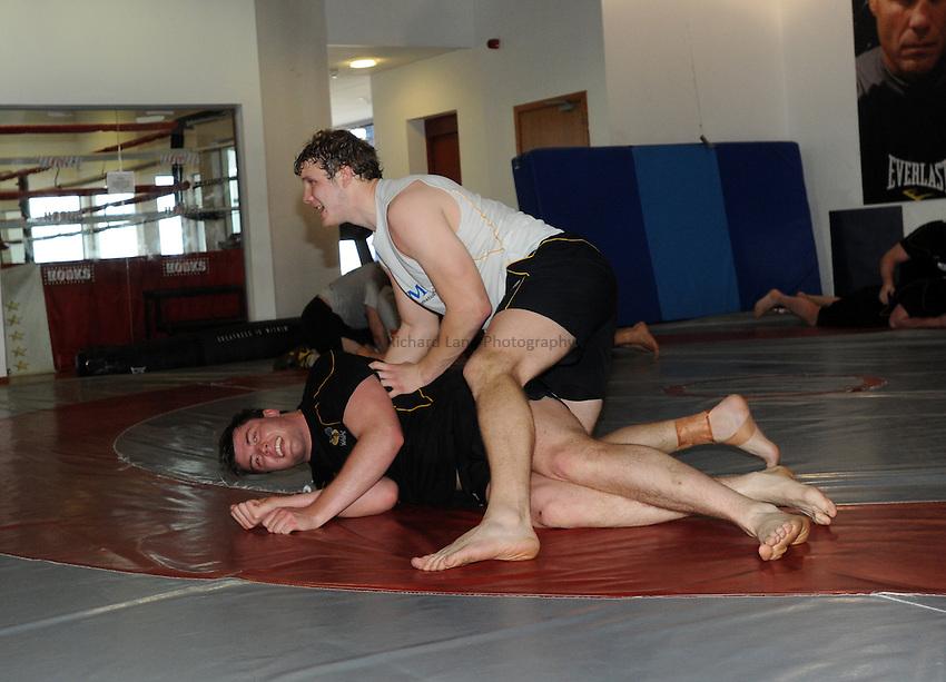 Photo: Tony Oudot/Richard Lane Photography. London Wasps train at the Hooks Gym in Acton. 12/03/2012. Wasps wrestle.