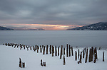 Idaho, Bonner County, Sandpoint. Low winter water levels on Lake Pend Oreille reveal old pilings in the morning light.