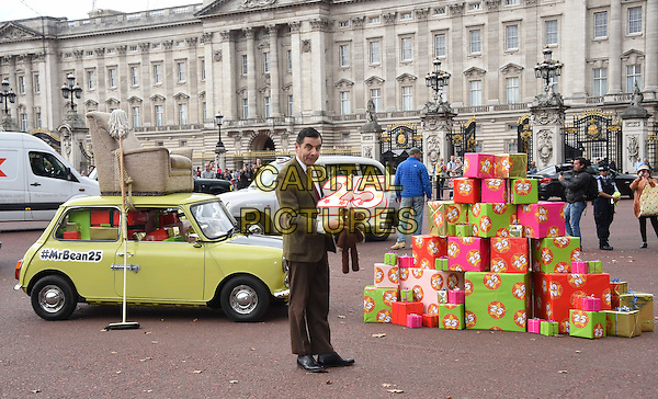British Comedy icon Mr Bean heads to Buckingham Palace to celebrate 25 years, the release of Mr Bean 25th Anniversary DVD Boxset and new animated episodes on Boomerang.<br /> *Editorial Use Only*<br /> CAP/PLF<br /> Supplied by Capital Pictures
