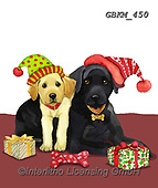 Kate, CHRISTMAS ANIMALS, WEIHNACHTEN TIERE, NAVIDAD ANIMALES, paintings+++++Xmas Lab with puppy on rug 2,GBKM450,#xa# ,dog,dogs