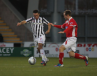 Dougie Imrie takes on Jonathon Stewart in the St Mirren v Brechin City William Hill Scottish Cup Round 4 match played at St Mirren Park, Paisley on 1.12.12...