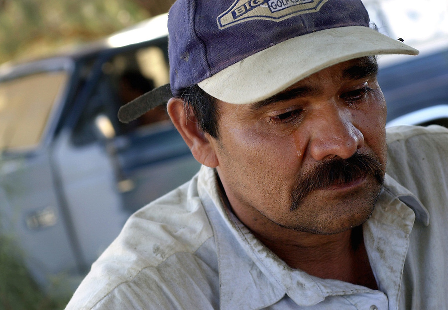"Mecca for Misery.A tear streams down the face of Rumaldo Torres, of Mexico, as he talks about the death of Ceaser Chavez. ""I felt like my father died,"" said Torres. He believes that the quality of life for farmworkers has diminished since Chavez's death."
