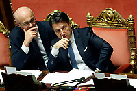 Federico D'Inca' and Giuseppe Conte<br /> Rome September 10th 2019. Senate. Discussion and Trust vote at the new Government. <br /> Foto  Samantha Zucchi Insidefoto