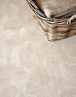 Chatham 2, a natural stone waterjet mosaic shown in honed Durango, is part of the Silk Road® collection by New Ravenna.