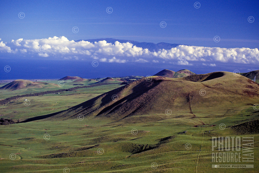 An aerial view of an open, green expanse marked with cinder cones (puu) on the Big Island's Kohala coast