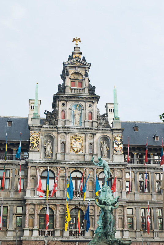 Belgium, Antwerp, Town Hall, Stadhuis, in City Square, Grote Markt, and Brabo Statue