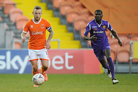 Blackpool's Jay Spearing under pressure from Maidstone United's Saidou Khan<br /> <br /> Photographer Kevin Barnes/CameraSport<br /> <br /> Emirates FA Cup Second Round - Blackpool v Maidstone United - Sunday 1st December 2019 - Bloomfield Road - Blackpool<br />  <br /> World Copyright © 2019 CameraSport. All rights reserved. 43 Linden Ave. Countesthorpe. Leicester. England. LE8 5PG - Tel: +44 (0) 116 277 4147 - admin@camerasport.com - www.camerasport.com