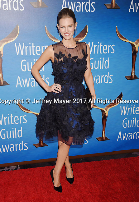 BEVERLY HILLS, CA - FEBRUARY 19: Actress Chelsey Crisp attends the 2017 Writers Guild Awards L.A. Ceremony at The Beverly Hilton Hotel on February 19, 2017 in Beverly Hills, California.