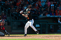 Oregon State Beavers second baseman Andy Armstrong (9) at bat during a game against the Gonzaga Bulldogs on February 16, 2019 at Surprise Stadium in Surprise, Arizona. Oregon State defeated Gonzaga 9-3. (Zachary Lucy/Four Seam Images)