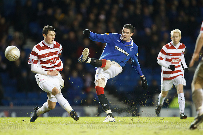 Mikey Devlin then aged 17 makes his debut for Hamilton against Rangers at Ibrox in 2011 as Kyle Lafferty gets a shot away past him
