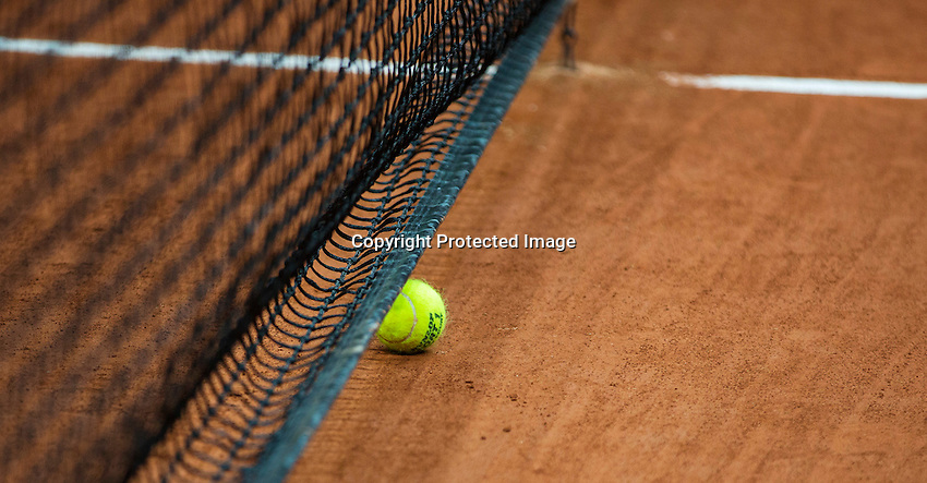 2016, 12 April, Arena Loire, Tr&eacute;laz&egrave;,  Semifinal FedCup, France-Netherlands, ball in net<br /> Photo:Tennisimages/Henk Koster